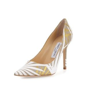 Jimmy Choo - Abel Khaki Palm Pointed-Toe Pump 37